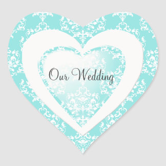 Chic Aqua Blue Damask Heart Wedding Sticker