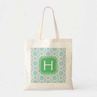 Chic aqua blue interlocking pattern monogram tote bag