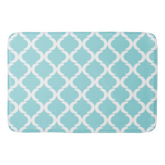 Chic Aqua Blue Large Qautrefoil Pattern Bath Mat