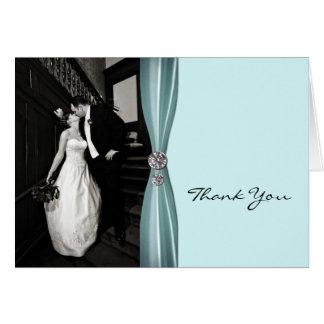 Chic Aqua Custom Photo Thank You Card