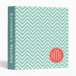 Chic Aqua Green Chevron and Orange Custom Monogram 3 Ring Binder