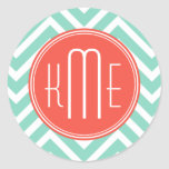 Chic Aqua Green Chevron and Orange Custom Monogram Round Sticker