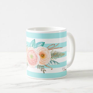 Chic Aqua Stripes Feminine Floral and Name Coffee Mug