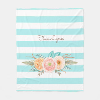 Chic Aqua Stripes Feminine Floral and Name Fleece Blanket