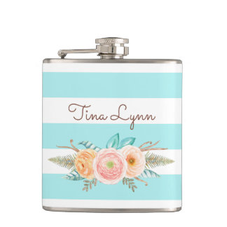 Chic Aqua Stripes Feminine Floral and Name Hip Flask