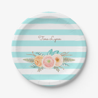 Chic Aqua Stripes Feminine Floral and Name Paper Plate