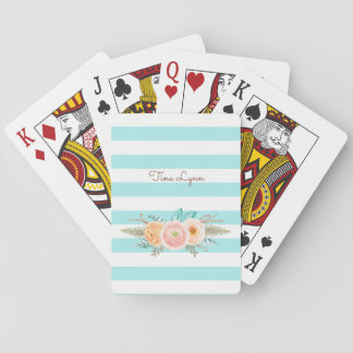 Chic Aqua Stripes Feminine Floral and Name Playing Cards