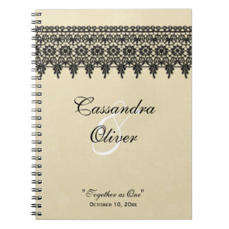 Chic arabesque black lace wedding favor notebook