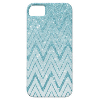 Chic Baby Blue Glitter Gradient Chevron Pattern iPhone 5 Covers