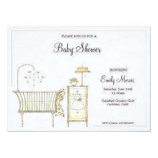 "Chic Baby Room 5.5"" X 7.5"" Invitation Card"