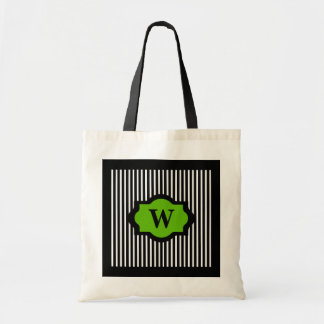 CHIC BAG_72 GREEN ON BLACK/WHITE STRIPES TOTE BAG