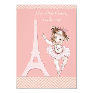 "Chic Ballerina Eiffel Tower Chevrons Baby Shower 5"" X 7"" Invitation Card"