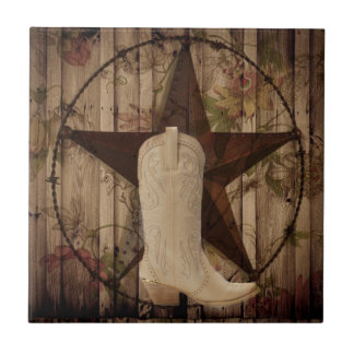 Chic barn wood Texas Star Western country cowgirl Tile