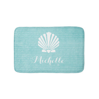 Chic Beach Girly Aqua Scallop Shell With Name Bathroom Mat