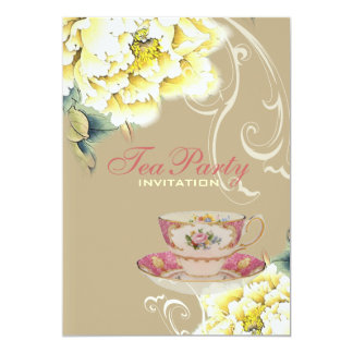 Chic beige peony watercolor floral bridal shower card