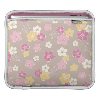 Chic beige pink flowers elegant feminine sleeve iPad sleeves