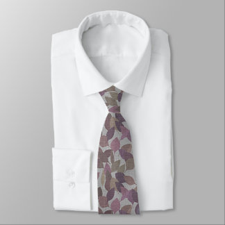 Chic Berry Purple Brown Gray Leaves Pattern Tie