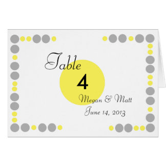 Chic Bird Silhouette & Dots Table Number in Yellow