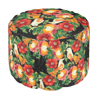 Chic Birds and Flowers Sturdy Polyester Round Pouf
