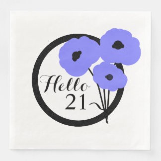 CHIC BIRTHDAY_MOD PERIWINKLE POPPIES PAPER NAPKIN