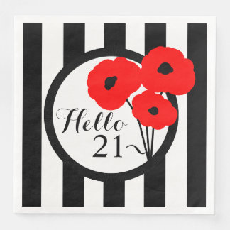 CHIC BIRTHDAY_MOD RED POPPIES ON STRIPES PAPER NAPKINS