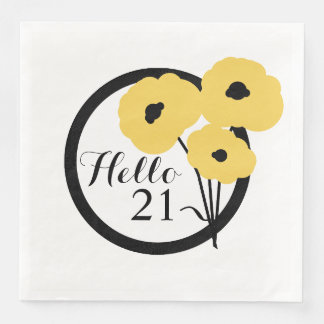 CHIC BIRTHDAY_MOD YELLOW  POPPIES DISPOSABLE NAPKINS