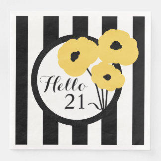 CHIC BIRTHDAY_MOD YELLOW POPPIES ON STRIPES DISPOSABLE NAPKINS