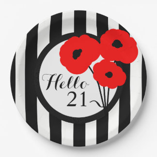 CHIC BIRTHDAY PAPE PLATE _MOD 01 RED POPPIES