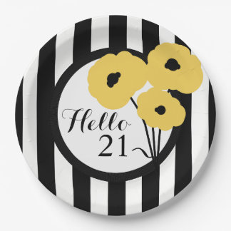 CHIC BIRTHDAY PAPE PLATE _MOD YELLOW POPPIES