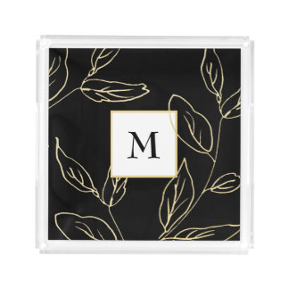 Chic Black and Faux Gold Botanical with Monogram Acrylic Tray