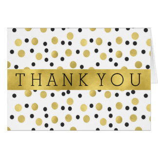 Chic Black and Gold Confetti Thank You Card