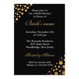 Chic Black And Gold  Dots Bridal Shower Card