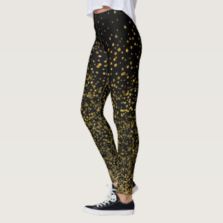 Chic Black and Gold | Faux Foil Confetti Dots Leggings