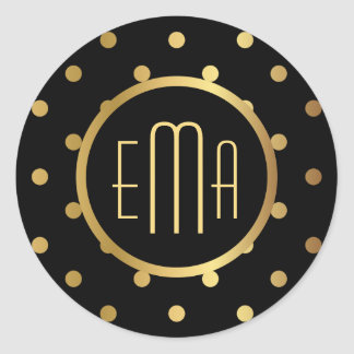 Chic Black and Gold Polka Dots with Monogram Classic Round Sticker