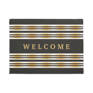 Chic Black And Gold Striped Welcome Doormat
