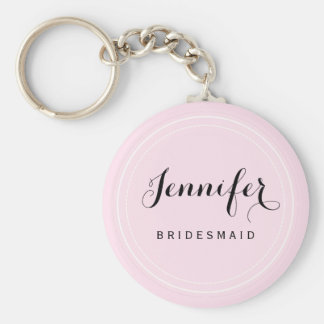 Chic Black and Pink Personalize Bridesmaid Basic Round Button Keychain