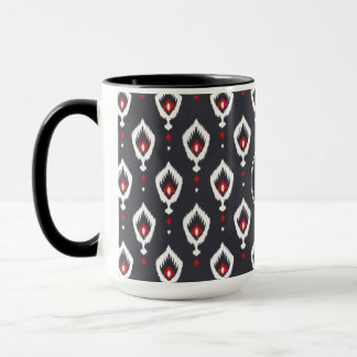 Chic black and red ikat tribal pattern monogram mug