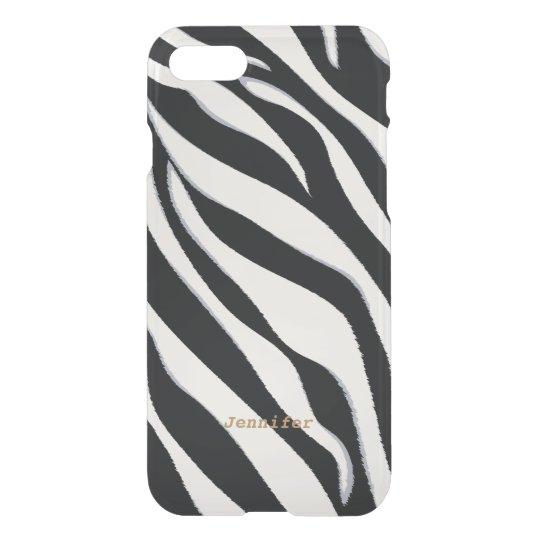 Chic black and white abstract zebra print monogram iPhone 7 case