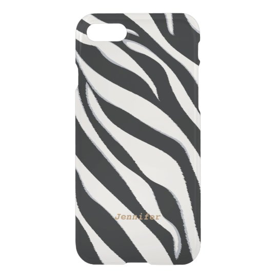 Chic black and white abstract zebra print monogram iPhone 8/7 case