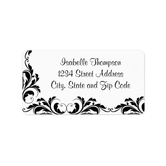 Chic Black and White Damask Flourish Border
