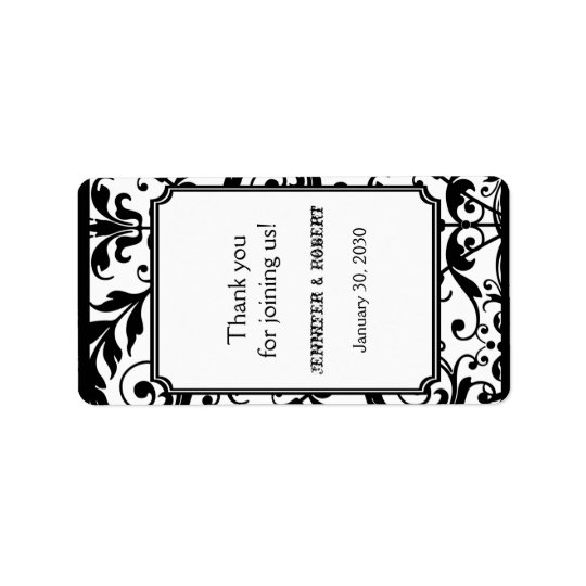 Chic Black and White Damask Wedding Lip Balm Label