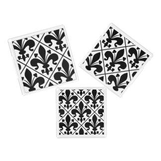 Chic Black and White Fleur de Lis Acrylic Tray