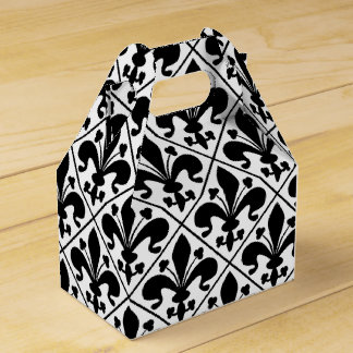 Chic Black and White Fleur de Lis Favor Box