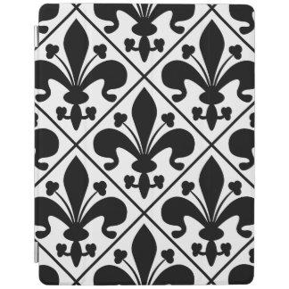 Chic Black and White Fleur de Lis iPad Cover