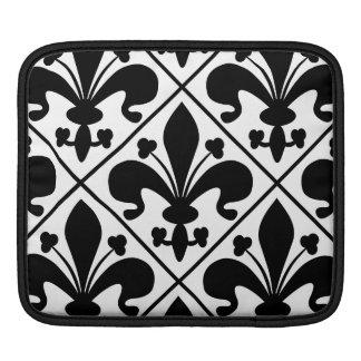 Chic Black and White Fleur de Lis iPad Sleeve