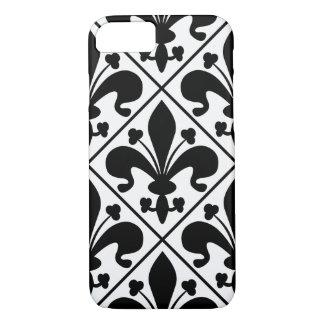 Chic Black and White Fleur de Lis iPhone 8/7 Case