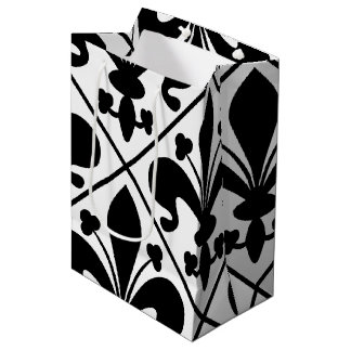 Chic Black and White Fleur de Lis Medium Gift Bag