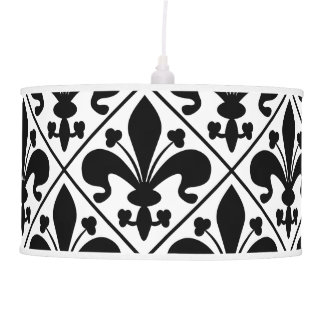 Chic Black and White Fleur de Lis Pendant Lamp