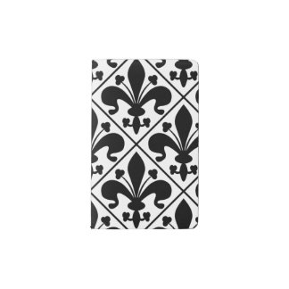 Chic Black and White Fleur de Lis Pocket Moleskine Notebook