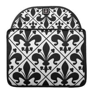 Chic Black and White Fleur de Lis Sleeve For MacBooks